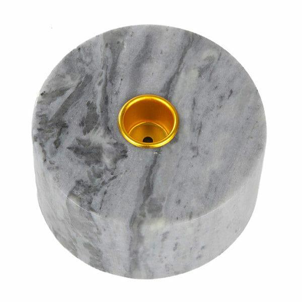 Kronljushållare marmor blå med mässing