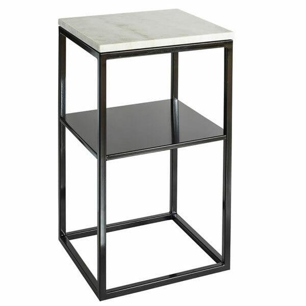 """Sängbord svart med marmor + hylla """"Carl"""""""