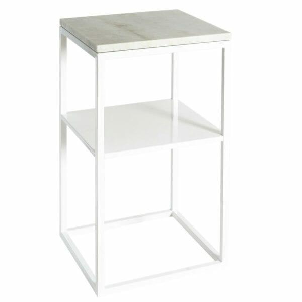 """Sängbord vit med marmor + hylla """"Carl"""""""
