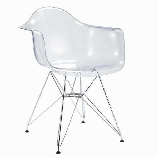 Genomskinlig stol med metallben