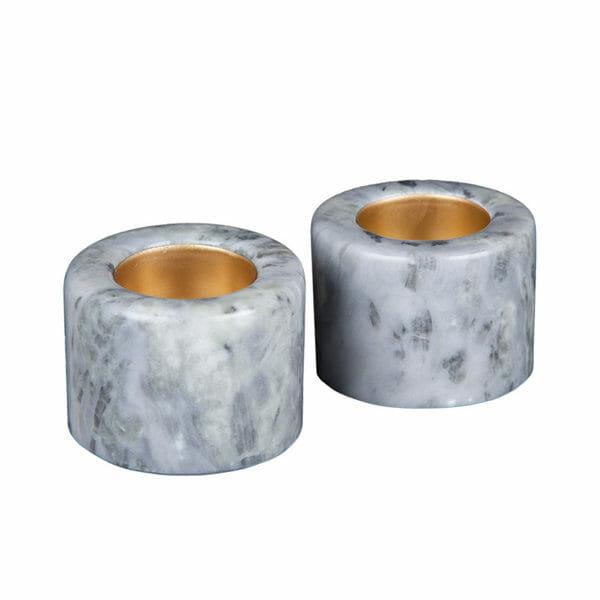 Ljushållare marmor blå med mässing 2-pack