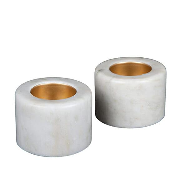 Ljushållare marmor vit med mässing 2-pack
