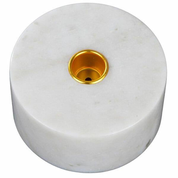 Kronljushållare marmor vit med mässing