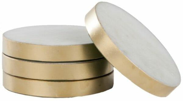 Glasunderlägg Vit marmor Mässingkant 4-pack
