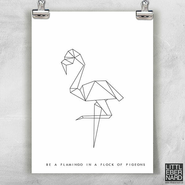 Origami flamingo poster