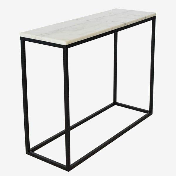 Accent avlastningsbord ljus marmor/svartlack