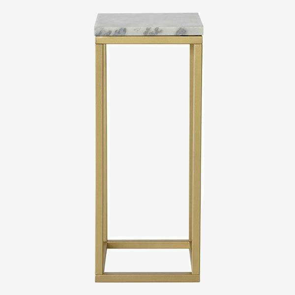 Accent Piedestal, ljus marmor/matt mässing (27 x 65 cm)