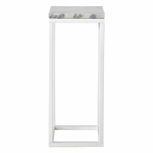 Accent Piedestal, ljus marmor/vit lack (27 x 65 cm)
