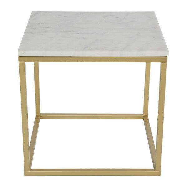 Accent sidobord kvadrat, ljus marmor/matt mässing
