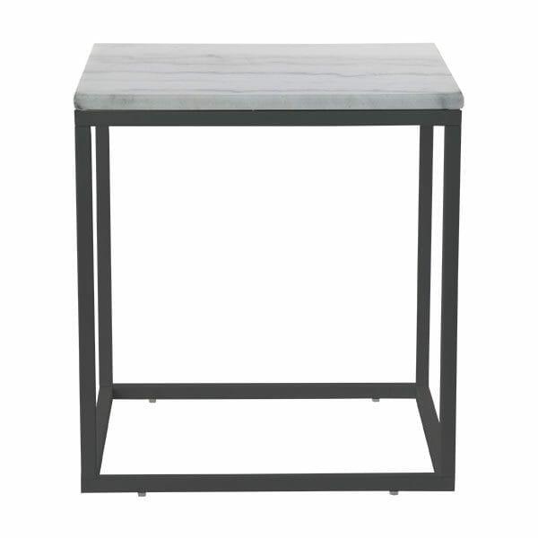 Accent sidobord kvadrat, ljus marmor/svart lack