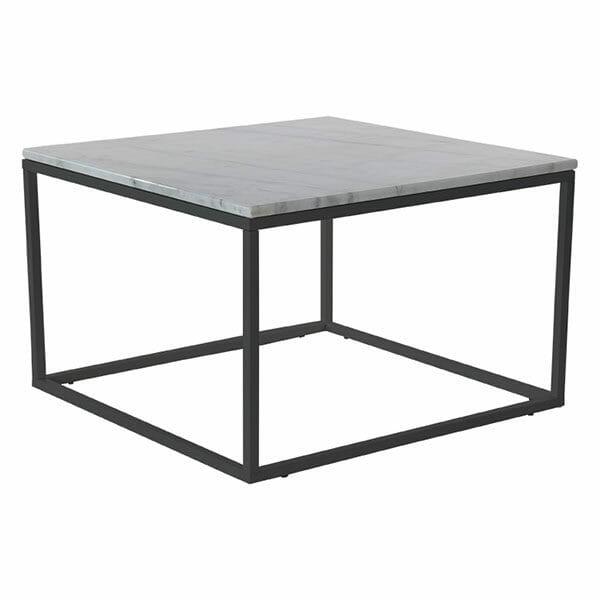 Accent soffbord kvadrat, ljus marmor/svart lack
