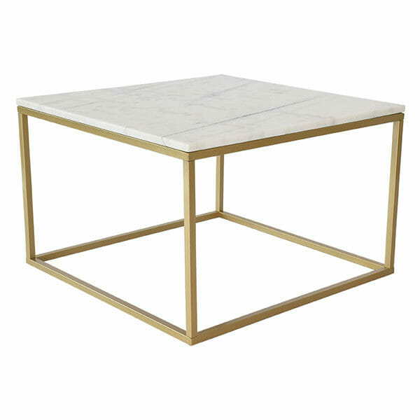 Accent soffbord kvadrat, ljus marmor/matt mässing (75 cm)
