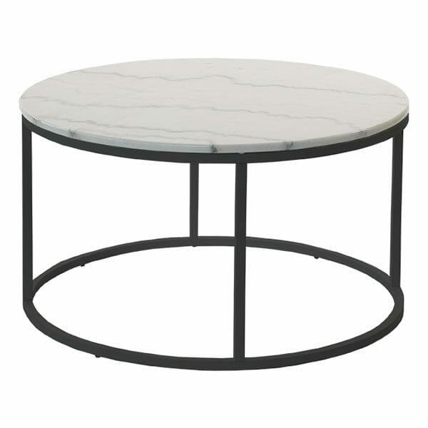 Accent soffbord runt, ljus marmor/svart lack