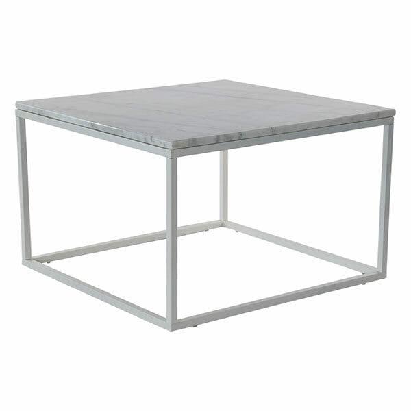 Accent soffbord kvadrat, ljus marmor/vit lack