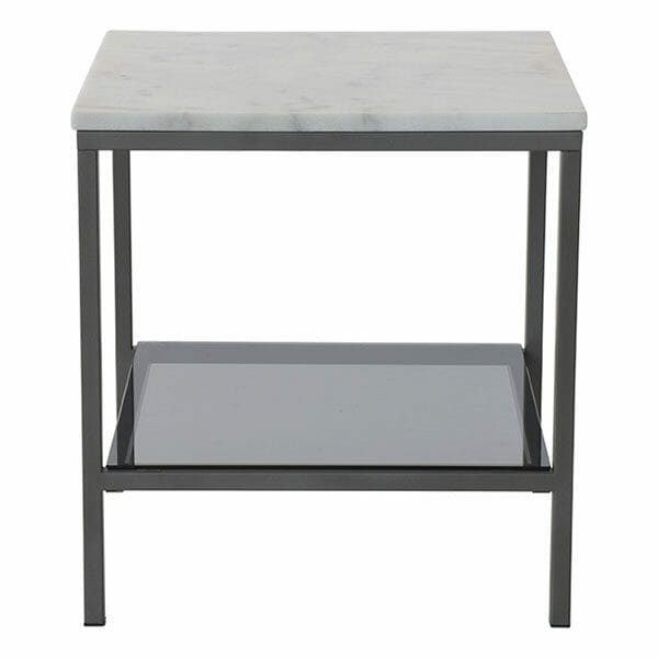 Ascot sidobord kvadrat ljus marmor/grå lack (50 cm)