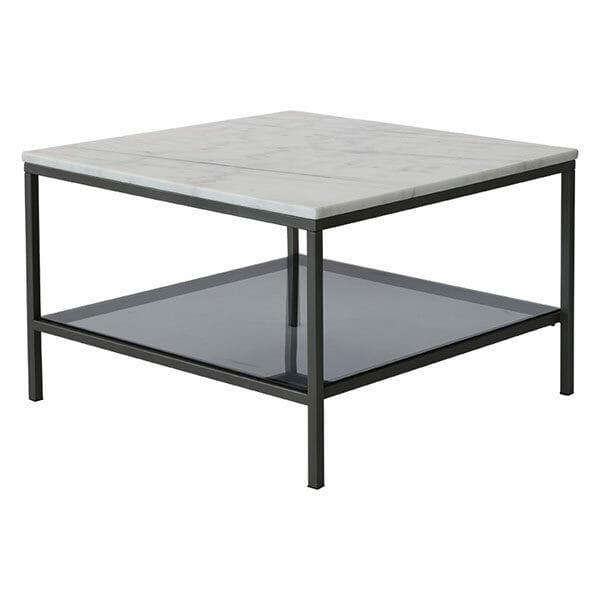 Ascot soffbord kvadrat ljus marmor/grå lack