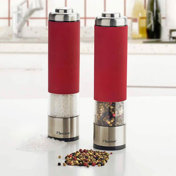Bestron Elektrisk salt- och pepparkvarn set Röd