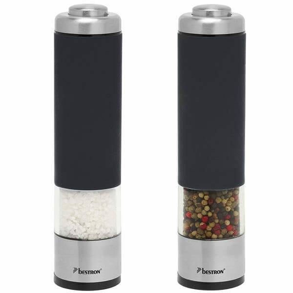 Bestron Elektrisk salt- och pepparkvarn set Svart