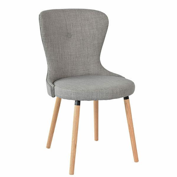 Boogie stol grå textil, ekben, 2-Pack