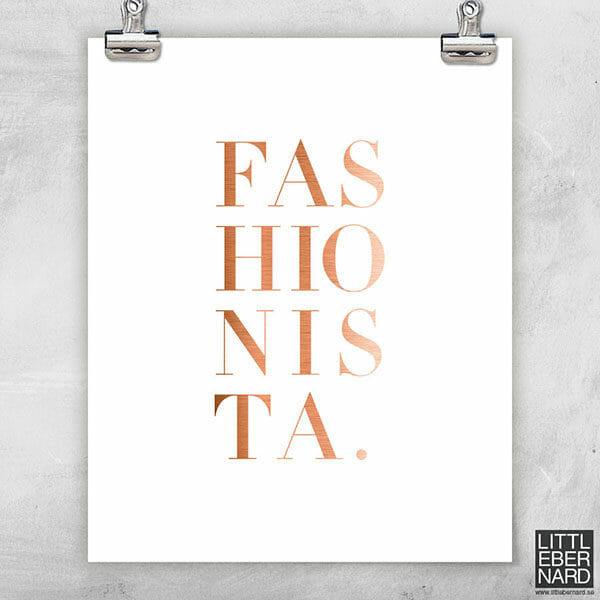 Fashionista vit poster