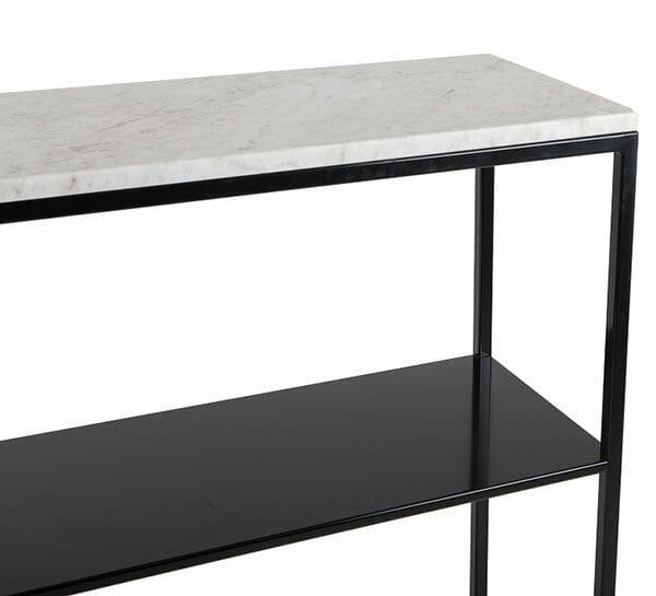 """Hallbord svart med marmor + hylla """"Helena"""""""