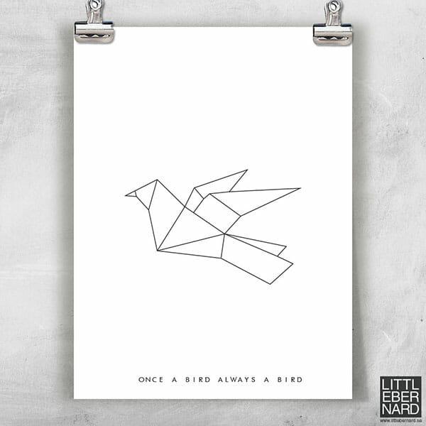 Origami fågel poster