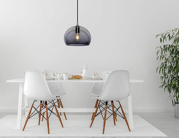 Havsö Lampa i trä med svart textilsladd, E27 Taklampor