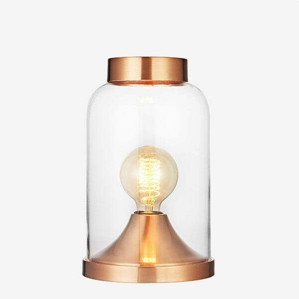 Glaskupa bordslampa - Koppar Havsö