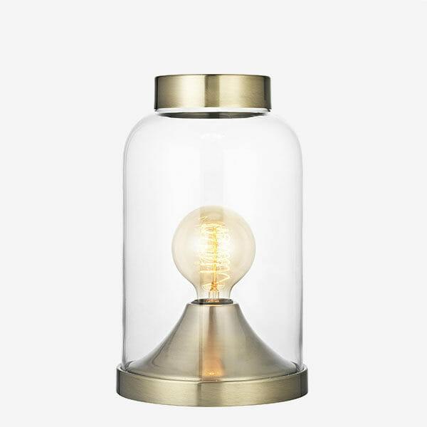 Glaskupa bordslampa - Mässing Havsö