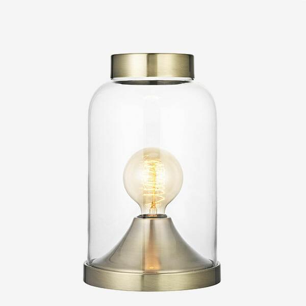 Glaskupa bordslampa Mässing Havsö