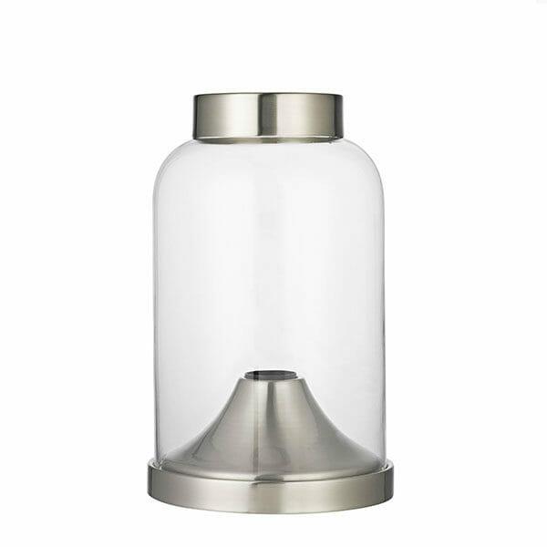 Glaskupa bordslampa - Silver