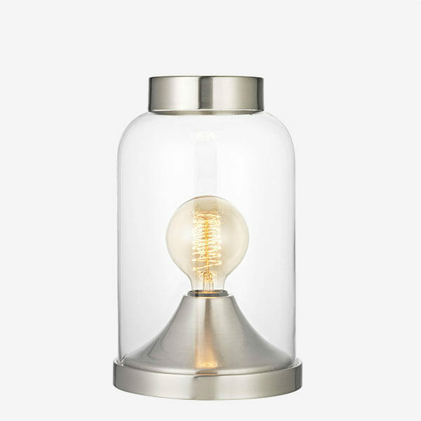 Glaskupa bordslampa - Silver Havsö