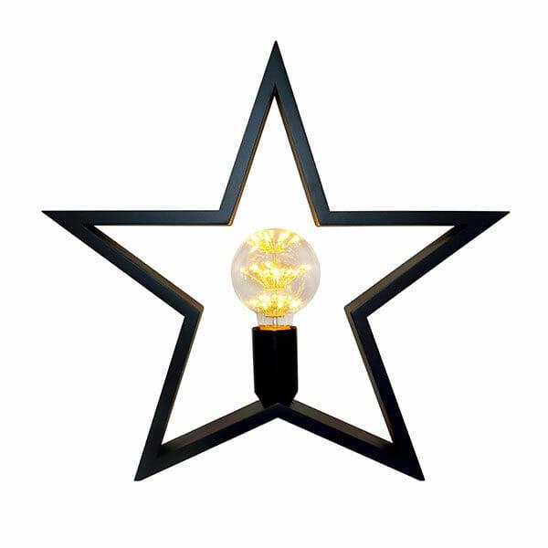 Trästjärna bordslampa - svart