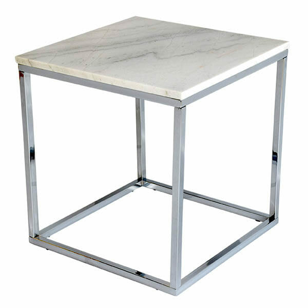 Accent sidobord kvadrat, ljus marmor/krom (50cm)