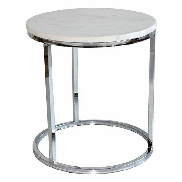 Accent sidobord runt, ljus marmor/krom (50 cm)