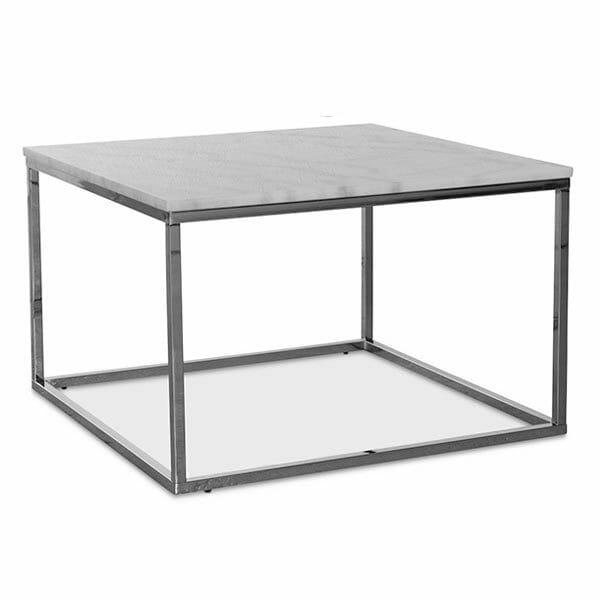 Accent soffbord kvadrat, ljus marmor/krom (75 cm)