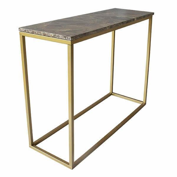 Accent avlastningsbord brun marmor/matt mässing