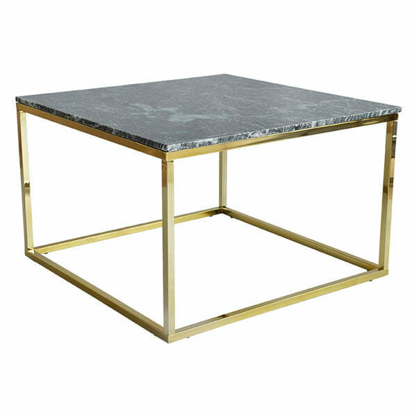 Accent soffbord kvadrat, grön marmor/blank mässing (75 cm)