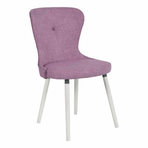 Betty stol, lila, vitlackade ben, 2-Pack