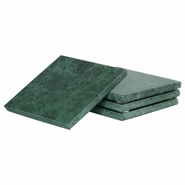 Glasunderlägg Marmor 4-pack, Grön