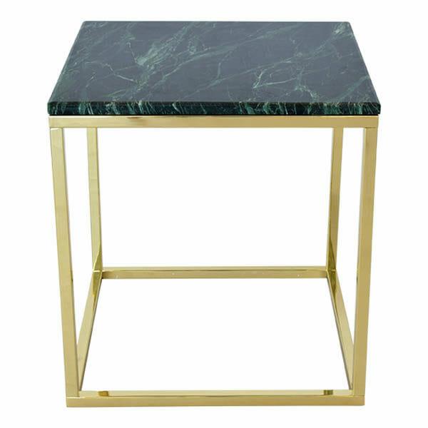 Accent sidobord kvadrat, grön marmor/blank mässing