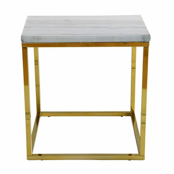 Accent sidobord kvadrat, ljus marmor/blank mässing