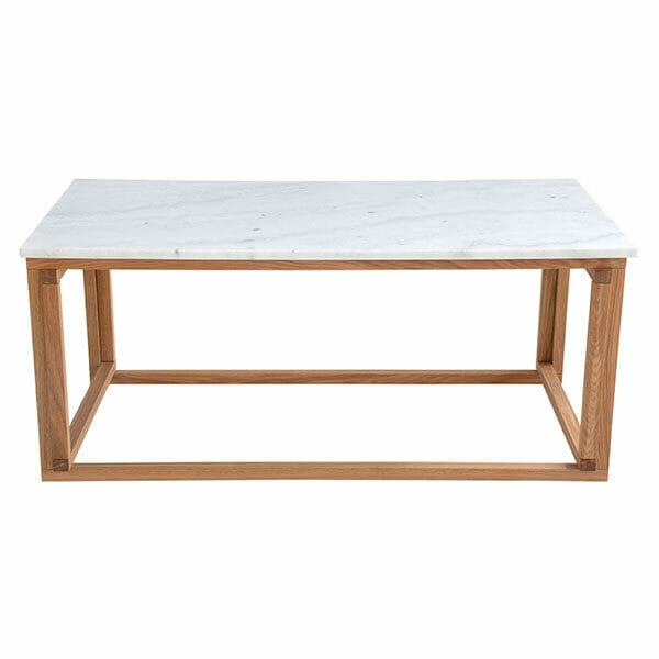 Accent Soffbord, ljus marmor/trä (110 cm)