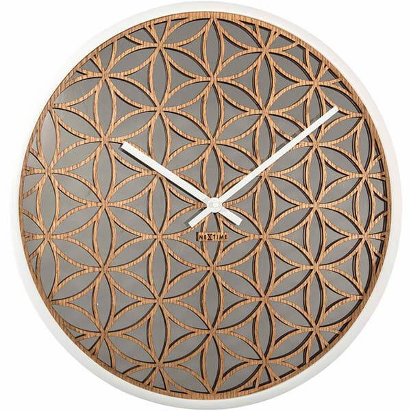 Bella Mirror Väggklocka Vit/Natur, 50 cm