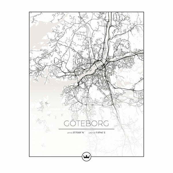 Poster karta över Göteborg