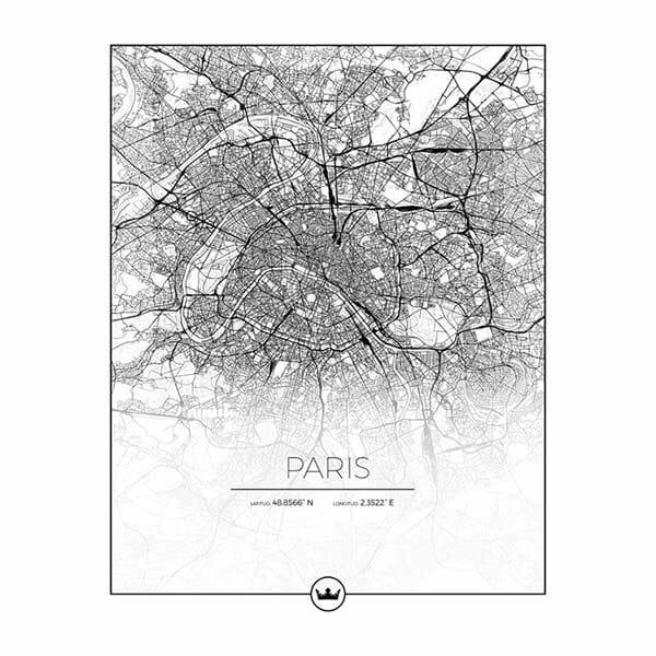 Poster karta över Paris