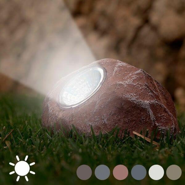 Dekorativ sten med solcellsbelysning