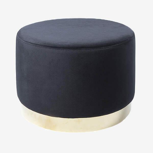 Bling pall sammet, Svart/mässing Ø50