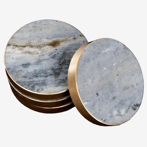 Glasunderlägg Blå marmor Mässingkant 4-pack