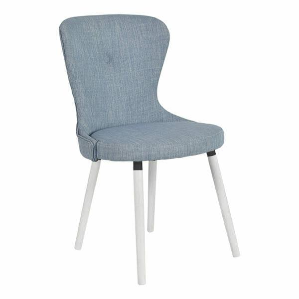 Betty stol blå textil, vitlackade ben, 2-Pack